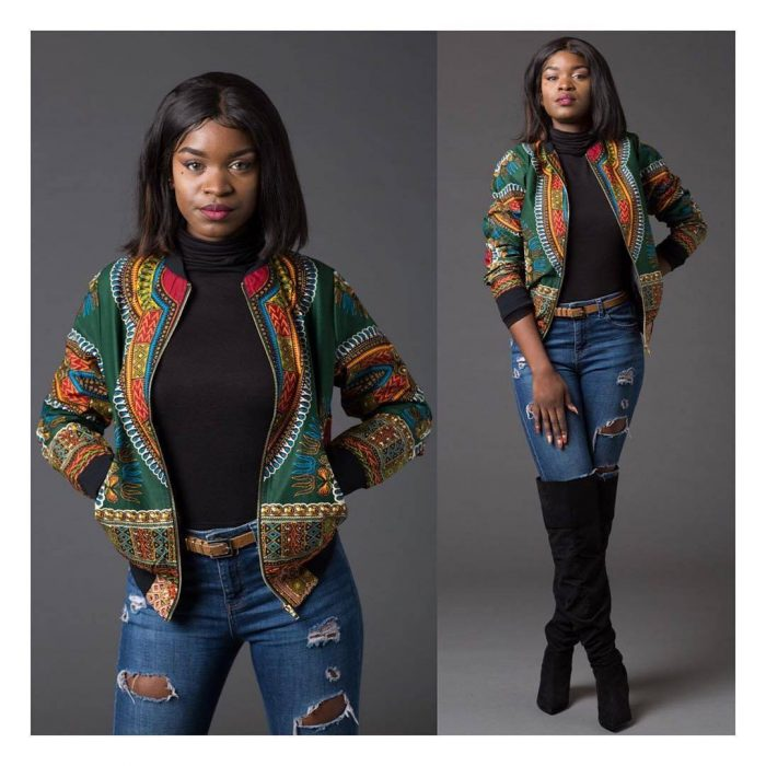 green dashiki bomber jacket