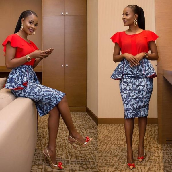 red top with peplum print skirt